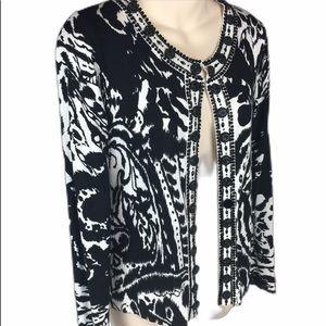 MICHAEL SIMON Beaded/Jeweled Cardigan Sweater S